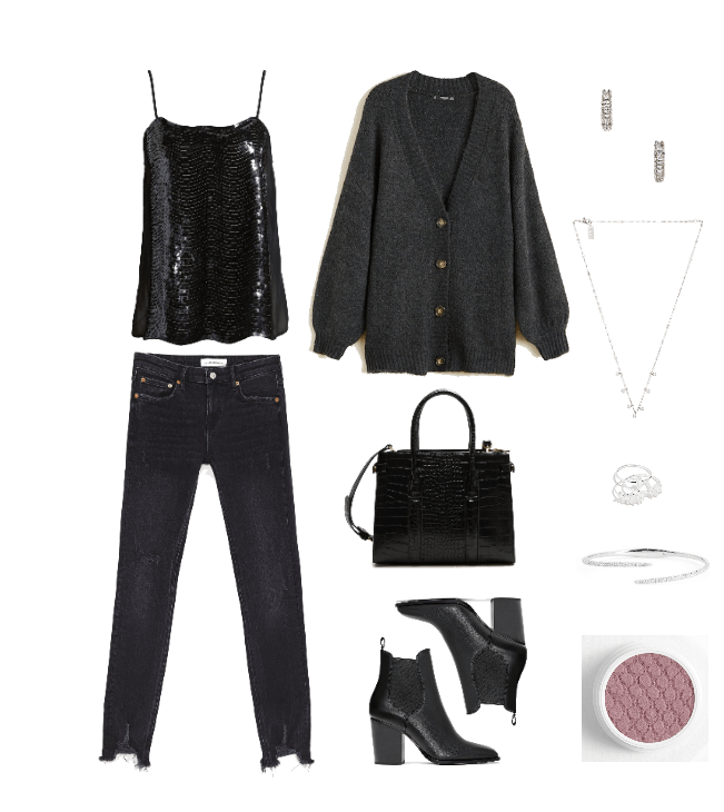 How to wear sequins during the day: Outfit idea with black sequin tank, black jeans, cardigan, dainty jewelry, chunky ankle boots, black purse
