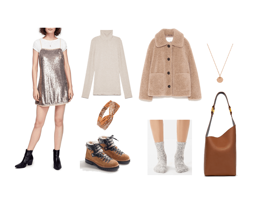 How to wear sequins during the day: Outfit idea with gold sequin mini dress, cream colored turtleneck, teddy coat, headband, slouchy purse, boots, socks