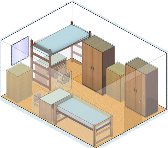 Private Dorm Room Layout