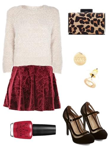 Velvet Skirt Valentine's Day Look