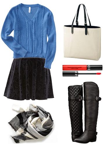 Velvet Skirt Casual Look