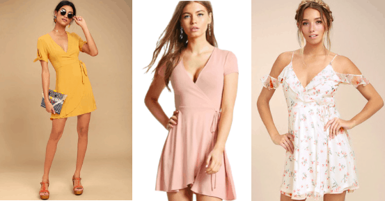 Yellow wrap dress with tied sleeves. Dusty rose wrap dress and a white sold shoulder floral wrap dress.