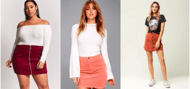 Corduroy skirt trend - cute corduroy skirts in burgundy, pink, and burnt orange