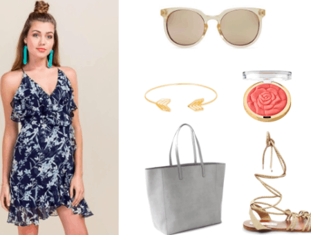 How to wear a wrap dress for class. For class pair a floral navy wrap dress with a gray tote, gold bangle, clear sunglasses, and gladiator sandals. For makeup go for a light blush, for example peach would pair nicely.