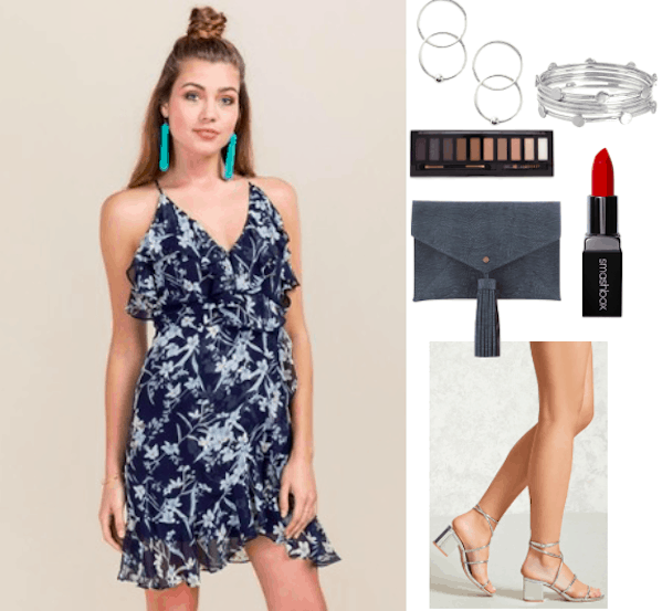 How to style a wrap dress for a night out. Pair a navy floral wrap dress with a navy clutch and silver jewelry. For makeup go for a smokey eye and a bold red lip.