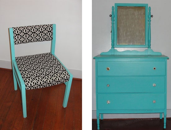 Furniture makeovers: blue painted chair and dresser