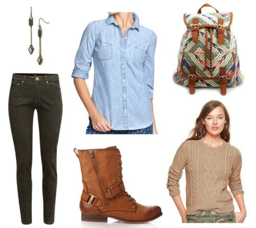 Chambray green cords boots