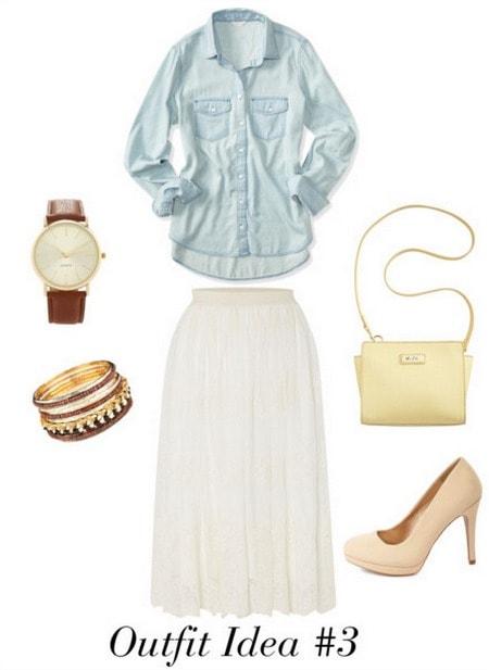 Audrey Hepburn outfit 3 - Chambray, long skirt, heels, cross-body, mens watch