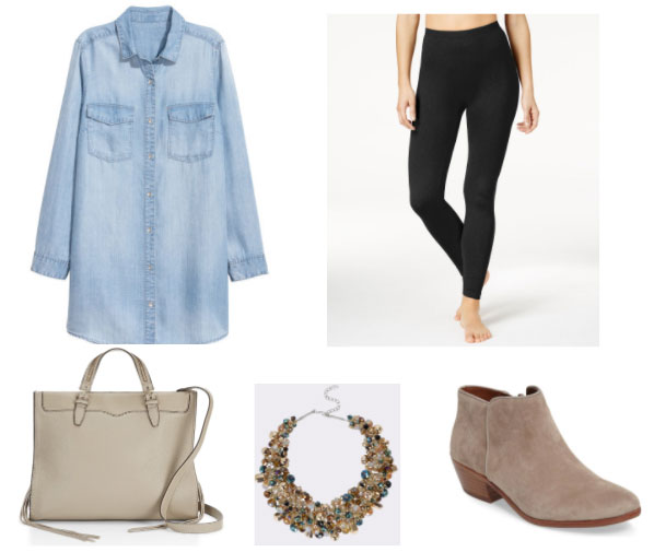 Daytime outfit with an oversized chambray shirt including black leggings, brown suede boots, statement necklace, taupe tote bag
