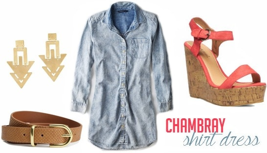 Chambray shirt dress and wedges outfit