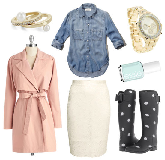 blush pink trench, polka dot rain boots, chambray shirt
