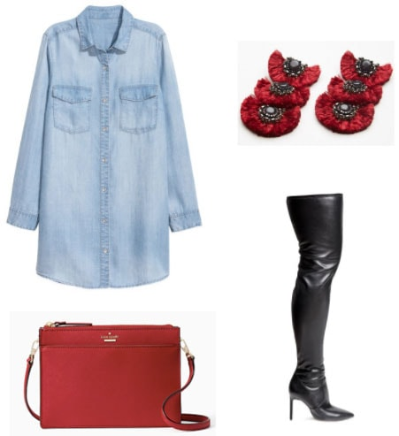 Night outfit with an oversized chambray shirt including over the knee boots, red statement earrings, red crossbody bag