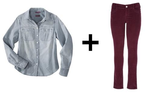 Chambray shirt plus corduroy pants