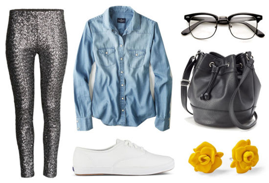 Chambray shirt, sequin pants, white sneakers