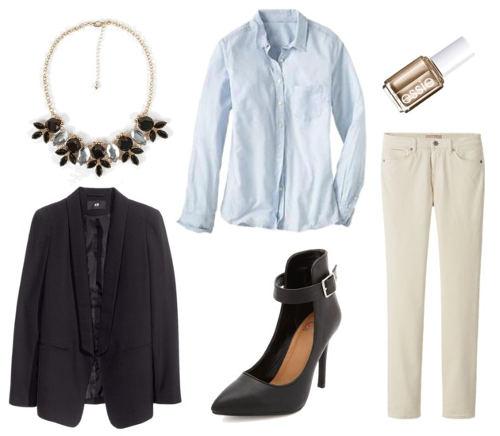 Chambray white cords blazer