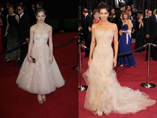 Champagne colored dresses at the 2011 Oscars - Hailee Steinfeld and Halle Berry