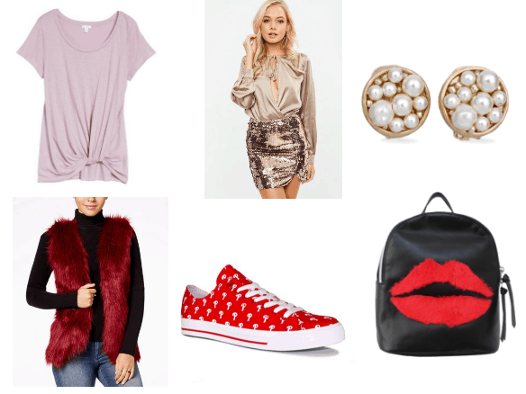 Chanel Oberlin and Jessica Rabbit inspired outfit with faux fur vest and sequin skirt