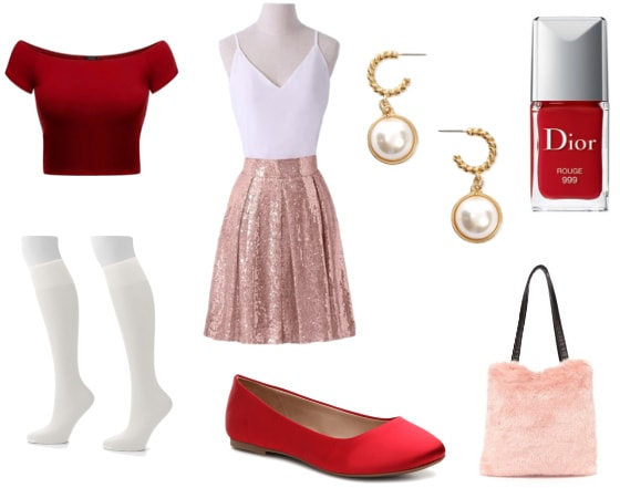 Chanel Oberlin and Jessica Rabbit outfit with off-the-shoulder top and sequin skirt