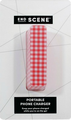 Gingham printed portable charger
