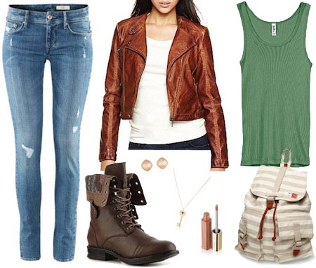 Outfit inspired by Charlie from Revolution - skinny jeans, green tank, faux leather jacket, striped backpack, combat boots