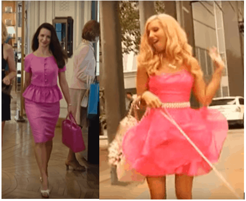 Charlotte York and Sharpay Evans wearing pink dresses