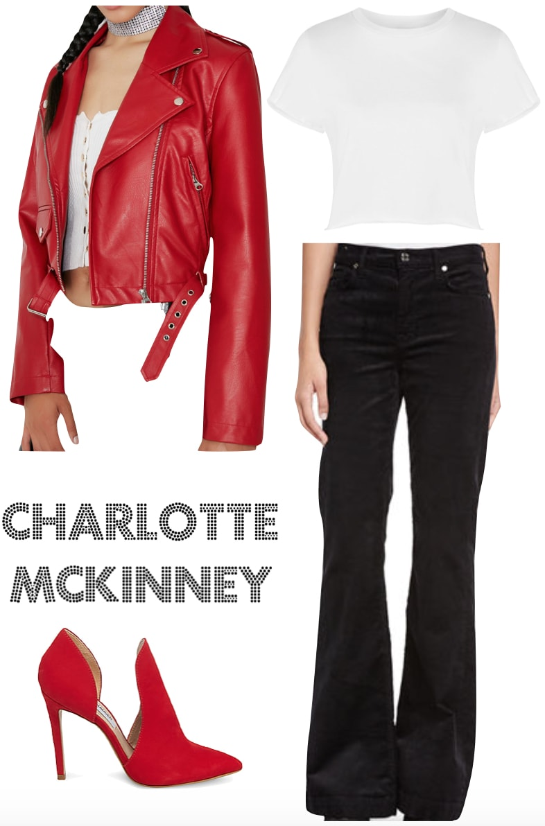 Charlotte McKinney Outfit: red leather Moto jacket, white cropped t-shirt, black corduroy flared pants, red pointy toe heels