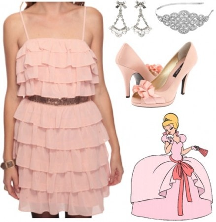 Outfit inspired by Charlotte from Walt Disney's The Princess and the Frog - pink dress, open toe pumps, chandelier earrings, headband