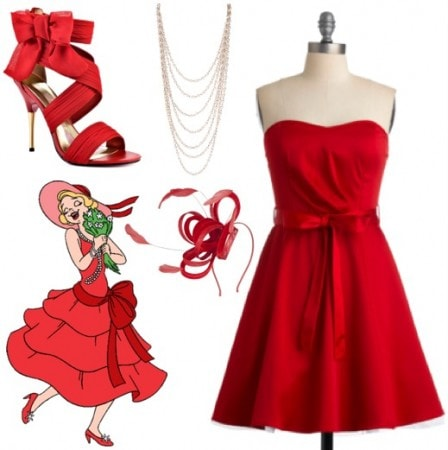 Outfit inspired by Charlotte from Walt Disney's The Princess and the Frog - red dress, chiffon heels, layered pearl necklace, feather fascinator headband