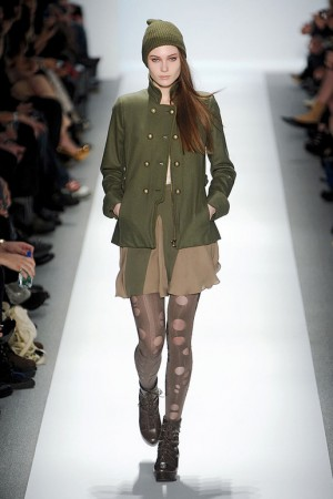 Charlotte Ronson Fall Green Military Jacket with Nude Skirt