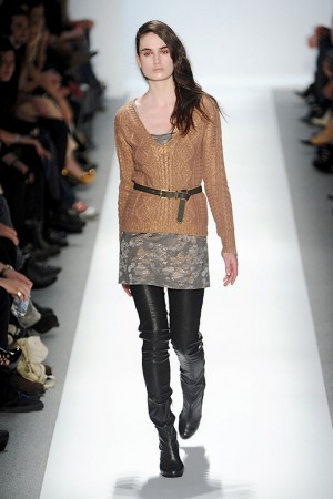 Charlotte Ronson Gold Sweater over Floral Tunic with Leather Leggings