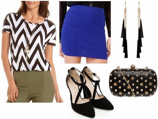 Charlotte russe chevron top, cobalt skirt, statement earrings