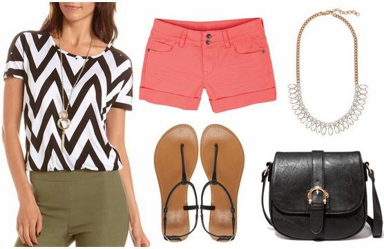 Charlotte russe chevron top, coral shorts, sandals, black crossbody bag