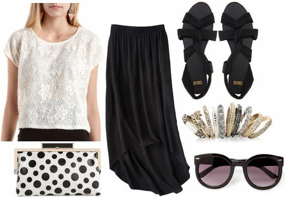 Charlotte russe crochet tee, black skirt, polka dot clutch