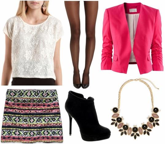 Charlotte russe crochet tee, printed skirt, pink blazer