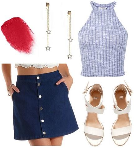 denim skirt, high neck top, white sandals