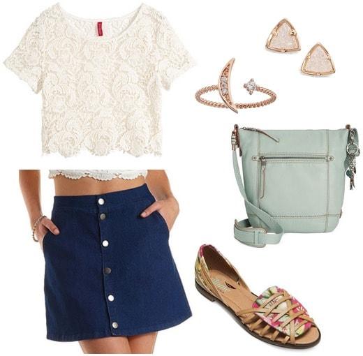 denim skirt, lace crop top, flats