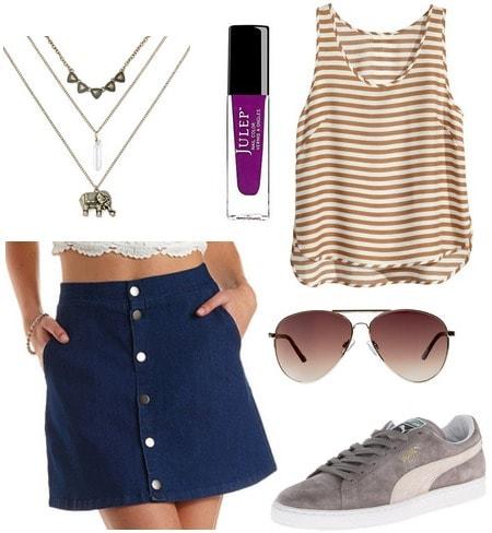 denim skirt, stripe top, sneakers