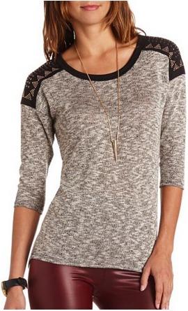 Charlotte russe embellished shoulder top