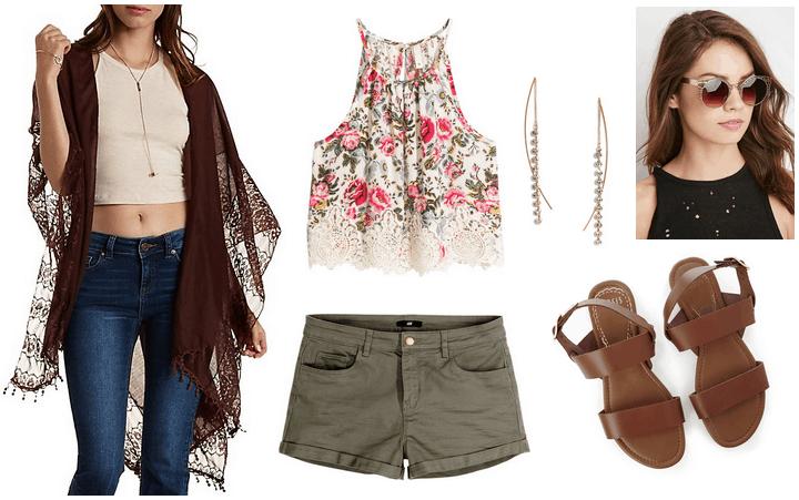 charlotte russe skimono, floral top, olive shorts