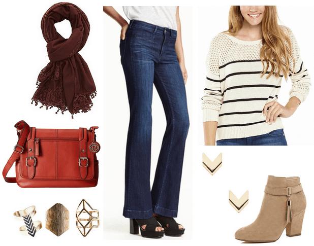 charlotte russe skimono, flare jeans, striped sweater
