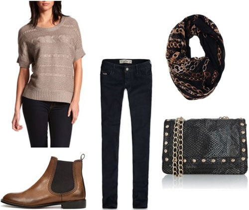 How to wear a Charlotte Russe metallic sweater with dark skinny jeans, boots, and a scarf