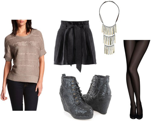 How to wear a Charlotte Russe metallic sweater with a black skirt, wedge ankle booties, and a statement necklace