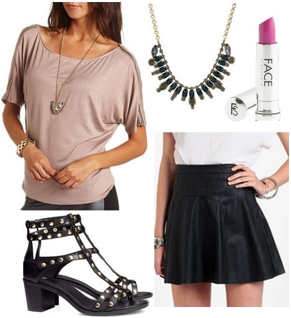 Charlotte russe off the shoulder tee, faux leather skirt, studded sandals