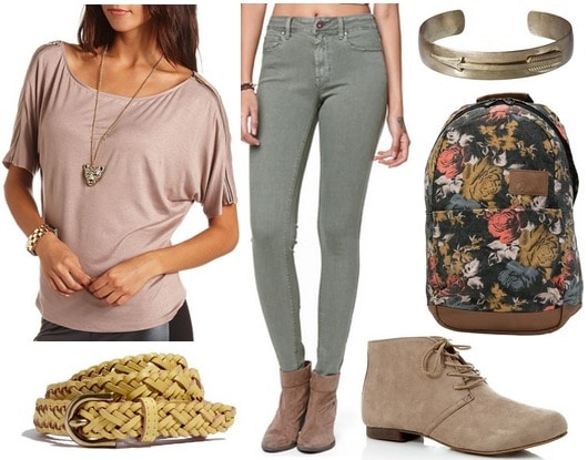 Charlotte russe off the shoulder tee, skinny jeans, ankle boots, backpack