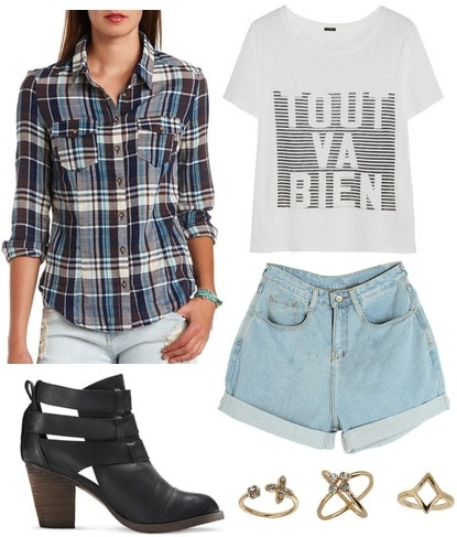 Charlotte Russe plaid shirt, graphic tee, denim shorts, ankle booties