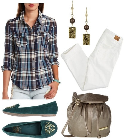 Charlotte Russe plaid shirt, white jeans, green loafers