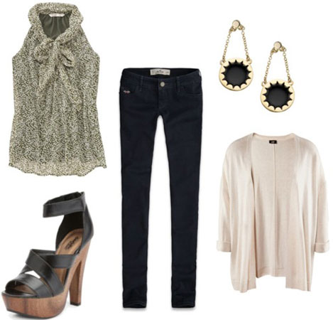 Outfit idea: Charlotte Russe wooden platforms, skinny black jeans, sleeveless blouse, cardigan
