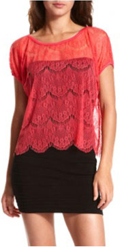 Charlotte Russe red lace top