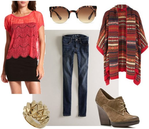 Charlotte Russe red top, worn with skinny jeans, a geometric pattern cardigan, wedge booties and sunglasses