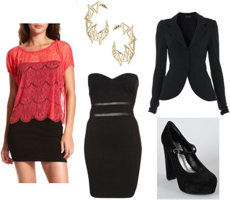 Charlotte Russe red top, worn with a fancy dress, blazer and mary-jane heels